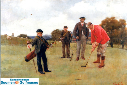 Wimbledon. Laidlaw Purves putting, Arthur Molesworth watshing. Royal Wimbledon Golf Club. Painting by William E. Pimm (1864-1952).